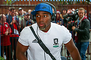 Middlesbrough forward Adama Traore (37)  comes off the bus during the EFL Sky Bet Championship match between Aston Villa and Middlesbrough at Villa Park, Birmingham, England on 12 September 2017. Photo by Simon Davies.