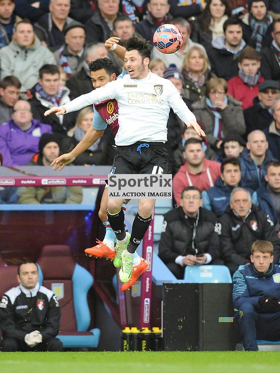 Bournemouth Adam Smith Battles with Villsa Kieran Richardson, Aston Villa v Bournemouth, FA Cup 4th Round, Villa Park, Sunday 25th January 2015