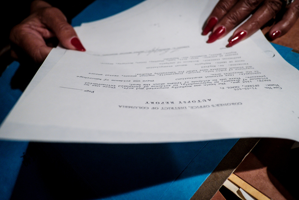 WASHINGTON, D.C. - JANUARY 19: Retired Washington D.C. Police Detective Romaine Jenkins with case files in her home on Friday, January 19, 2018 in Washington, D.C.. Jenkins is still investigation the Freeway Phantom Case. (Photo by Pete Marovich For The Washington Post)