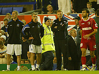 Photo: Aidan Ellis.<br /> Everton v Dinamo Bucuresti. UEFA Cup. 29/09/2005.<br /> Everton manager David Moyes shouts at Dinamo's Mithaita after he took Mikkael Arteta out of the game