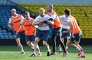 James Graham tackled by Adam Milner and Jamie Peacock during the England Rugby League captain's run ahead of the 3rd Autumn International Series Match at Elland Road, Leeds<br /> Picture by Stephen Gaunt/Focus Images Ltd +447904 833202<br /> 10/11/2018
