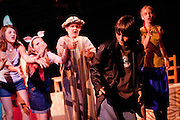 Jayden Mackim, right, playing the boy who cried wolf, gets jeers from other cast members during a dress rehearsal of The Big Bad Musical at Lake City Playhouse on Wednesday. The play will open Friday, July 9 at 7:00..