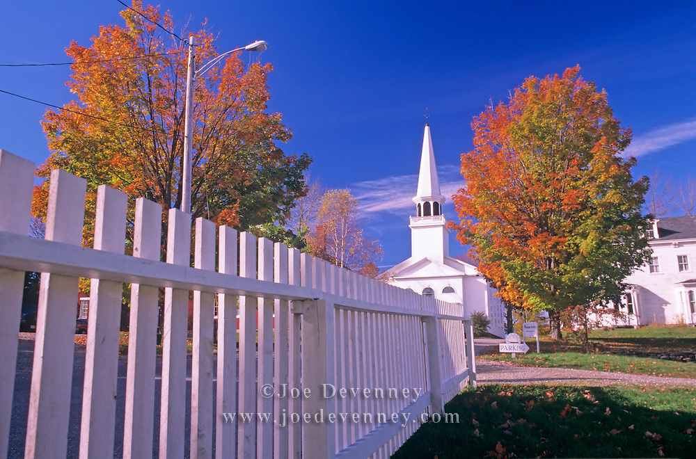 Traditional white church and steeple. Searsport, Maine