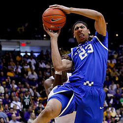 January 28, 2012; Baton Rouge, LA; LSU Tigers forward Malcolm White (5) commits a flagrant foul against Kentucky Wildcats forward Anthony Davis (23) during the second half of a game at the Pete Maravich Assembly Center. Kentucky defeated LSU 74-50.  Mandatory Credit: Derick E. Hingle-US PRESSWIRE