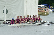 Henley on Thames, United kingdom, heat of the Remenham Challenge Cup<br /> Oxford Brookes University<br /> 2002, rowing Oxford Brookes Ali Gill, Alison TRICKEY, Alex BEEVER, Carla ASHFORD, cox Caroline O'CONNER.   Annual 2002 Henley Royal Regatta, Henley Reach, River Thames, England, [Mandatory Credit: Peter Spurrier/Intersport Images] 20020703 Henley Royal Regatta, Henley, Great Britain