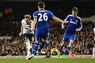Harry Kane of Tottenham Hotspur scores his sides first goal to make the scoreline 1-1 during the Barclays Premier League match between Tottenham Hotspur and Chelsea  at White Hart Lane, London<br /> Picture by Richard Blaxall/Focus Images Ltd +44 7853 364624<br /> 01/01/2015