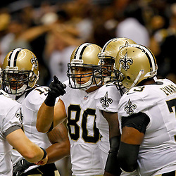 September 9, 2012; New Orleans, LA, USA; New Orleans Saints tight end Jimmy Graham (80) celebrates with teammates after a touchdown against the Washington Redskins during the first quarter of a game at the Mercedes-Benz Superdome. Mandatory Credit: Derick E. Hingle-US PRESSWIRE