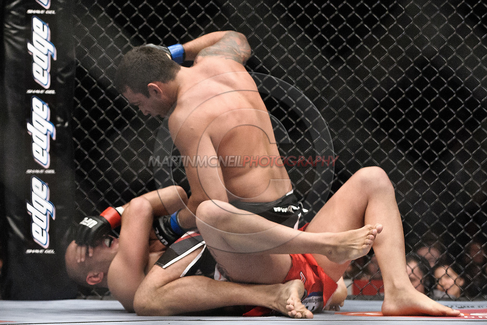 "LONDON, ENGLAND, JUNE 7, 2008: Fabricio Werdum (top) rains blows down on Brandon Vera during ""UFC 85: Bedlam"" inside the O2 Arena in Greenwich, London on June 7, 2008."