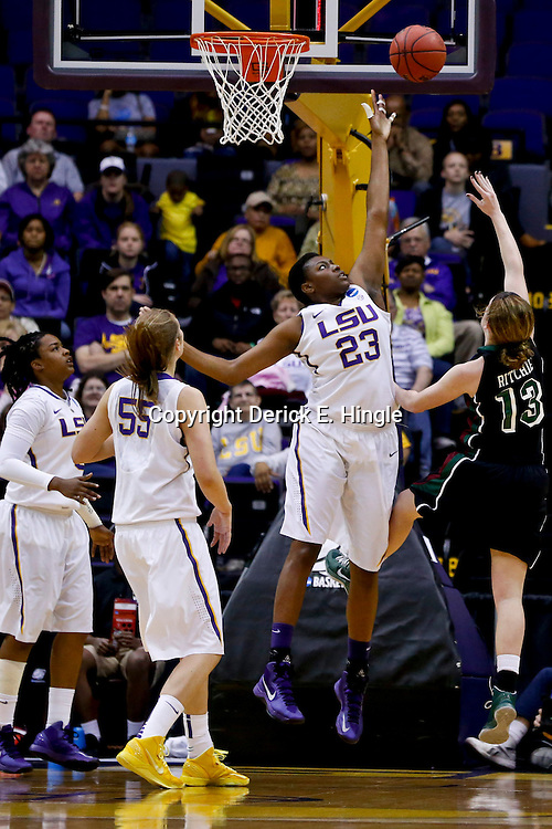 Mar 24, 2013; Baton Rouge, LA, USA; Green Bay Phoenix guard Adrian Ritchie (13) shoots over LSU Tigers forward Shanece McKinney (23) in the first half of the first round of the 2013 NCAA womens basketball tournament at the Pete Maravich Assembly Center.  Mandatory Credit: Derick E. Hingle-USA TODAY Sports