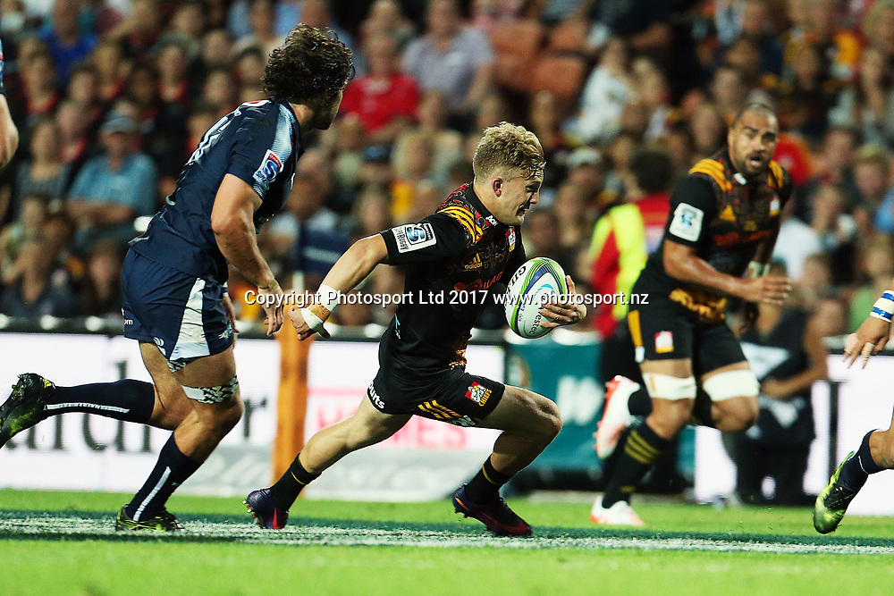 Chiefs' fullback Damian McKenzie makes a break during the Super Rugby rugby match - Chiefs v Bulls played at FMG Stadium Waikato, Hamilton, New Zealand on Saturday 1 April 2017.  Copyright photo: Bruce Lim / www.photosport.nz