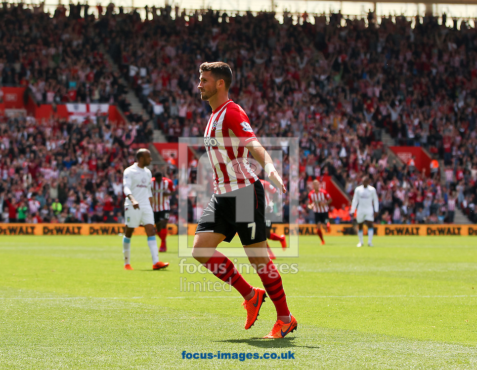Shane Long of Southampton celebrates scoring his sides fourth goal during the Barclays Premier League match at the St Mary's Stadium, Southampton<br /> Picture by Tom Smith/Focus Images Ltd 07545141164<br /> 16/05/2015