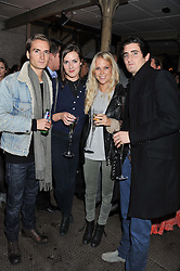 Left to right, OLIVER PROUDLOCK, SOPHIE COOMBES, LADY NATASHA HOWARD and OLIVER HADDEN PATON at a party to celebrate the launch of the new Vertu Constellation phone - the luxury phonemakers first touchscreen handset, held at the Farmiloe Building, St.John Street, Clarkenwell, London on 24th November 2011.