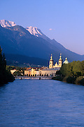Image of the town of Innsbruck, Austria with Dom zu St. Jakob, Innsee, and the Alps