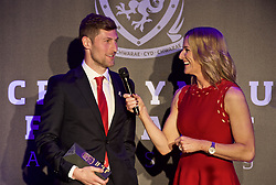 CARDIFF, WALES - Thursday, March 21, 2019: Wales' Ben Davies is interviewed by host Gabby Logan after winning the Media Choice award during the Football Association of Wales Awards 2019 at the Hensol Castle. (Pic by Ian Cook/Propaganda)