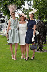 Left to right, LADY ALICE MANNERS, The DUCHESS OF RUTLAND and LADY VIOLET MANNERS at the 1st day of the Royal Ascot Racing Festival 2015 at Ascot Racecourse, Ascot, Berkshire on 16th June 2015.