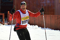 06-03-2016 SWE: Vasaloppet Challenge BvdGF day 7, Sälen<br /> Vandaag een rustig dagje, 90 km langlaufen van Sälen naar Mora in bizarre omstandigheden / Aad komt over de finish