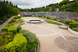 View of historic New Lanark UNESCO World Heritage site from roof garden in Lanarkshire, Scotland, United Kingdom