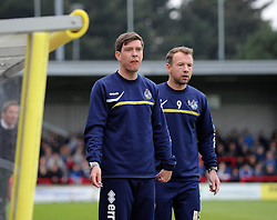 Bristol Rovers Manager, Darrell Clarke (L) and Bristol Rovers assistant manager, Marcus Stewart - Photo mandatory by-line: Dougie Allward/JMP - Mobile: 07966 386802 05/04/2014 - SPORT - FOOTBALL - Kingston upon Thames - Kingsmeadow - AFC Wimbledon v Bristol Rovers - Sky Bet League Two