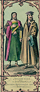 Johann Huss or Hus (c1369-1415) Bohemian religious reformer, left, and Giralomo Savonarola (1452-1415) Italian Dominican brother, pioneers of religious reformation. Coloured lithograph.