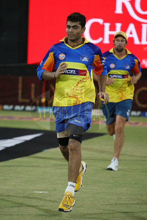 Ravindra Jadeja before the start of match 46 of the the Indian Premier League ( IPL) 2012  between The Chennai Superkings and the Deccan Chargers held at the M. A. Chidambaram Stadium, Chennai on the 4th May 2012..Photo by Jacques Rossouw/IPL/SPORTZPICS