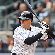 Kelly Johnson, New York Yankees, batting during the New York Yankees V Baltimore Orioles home opening day at Yankee Stadium, The Bronx, New York. 7th April 2014. Photo Tim Clayton