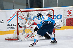 Tadej Cimzar of Kranj and Jure Pavlic of Jesenice during ice-hockey match between HDD SIJ Acroni Jesenice and HK Triglav Kranj in first game of Semifinal at Slovenian National League, on March 13, 2015 at Dvorana Podmezaklja, Jesenice. Photo by Matic Klansek Velej / Sportida