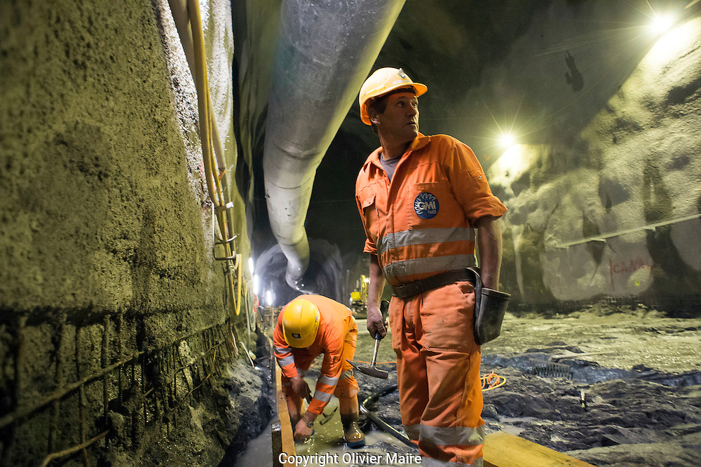 Fabrication du haut du puis blindé d'Emosson de Nant de Drance le 11 juillet 2012...centrale des barrage d'Emosson, .usine de pompage turbinage des barrages Emosson..électricité hydroélectrique, énergie...(PHOTO-GENIC.CH/ OLIVIER MAIRE)