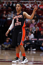 February 24, 2011; Stanford, CA, USA;  Oregon State Beavers guard Alexis Bostick (2) calls a play against the Stanford Cardinal during the first half at Maples Pavilion.  Stanford defeated Oregon State 73-37.