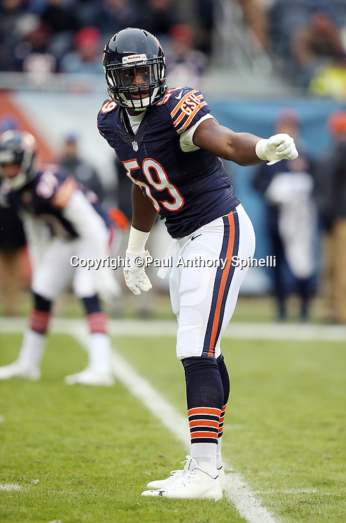 Chicago Bears inside linebacker Christian Jones (59) waves his arm during the NFL week 17 regular season football game against the Detroit Lions on Sunday, Jan. 3, 2016 in Chicago. The Lions won the game 24-20. (©Paul Anthony Spinelli)