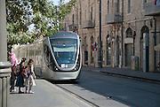 Israel, Jerusalem The recently constructed Light Train rapid urban transport system