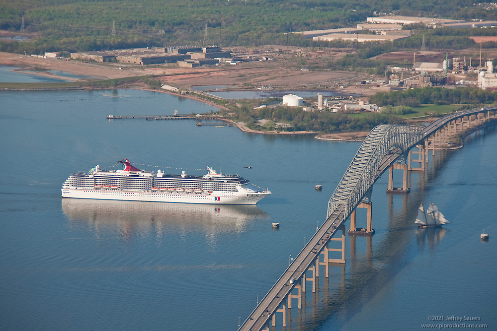 Carnival Ship at Key Bridge in Baltimore Maryland.