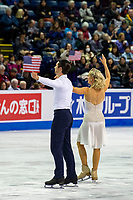 KELOWNA, BC - OCTOBER 25:  American ice dancers Madison Hubbell and Zachary Donohue wave to fans during Skate Canada International before performing in the rhythm dance at Prospera Place on October 25, 2019 in Kelowna, Canada. (Photo by Marissa Baecker/Shoot the Breeze)