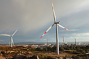 Wind farm built by ALCOA company to produce power for its aluminum factory in Portovesme.