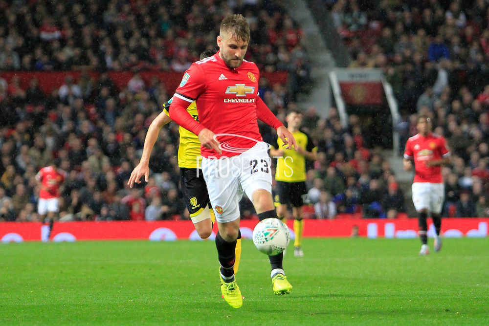 Manchester United defender Luke Shaw (23) during the EFL Cup match between Manchester United and Burton Albion at Old Trafford, Manchester, England on 19 September 2017. Photo by Richard Holmes.