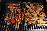 Vegetarian skewers with mushrooms and peppers and chicken breast escalope on a BBQ