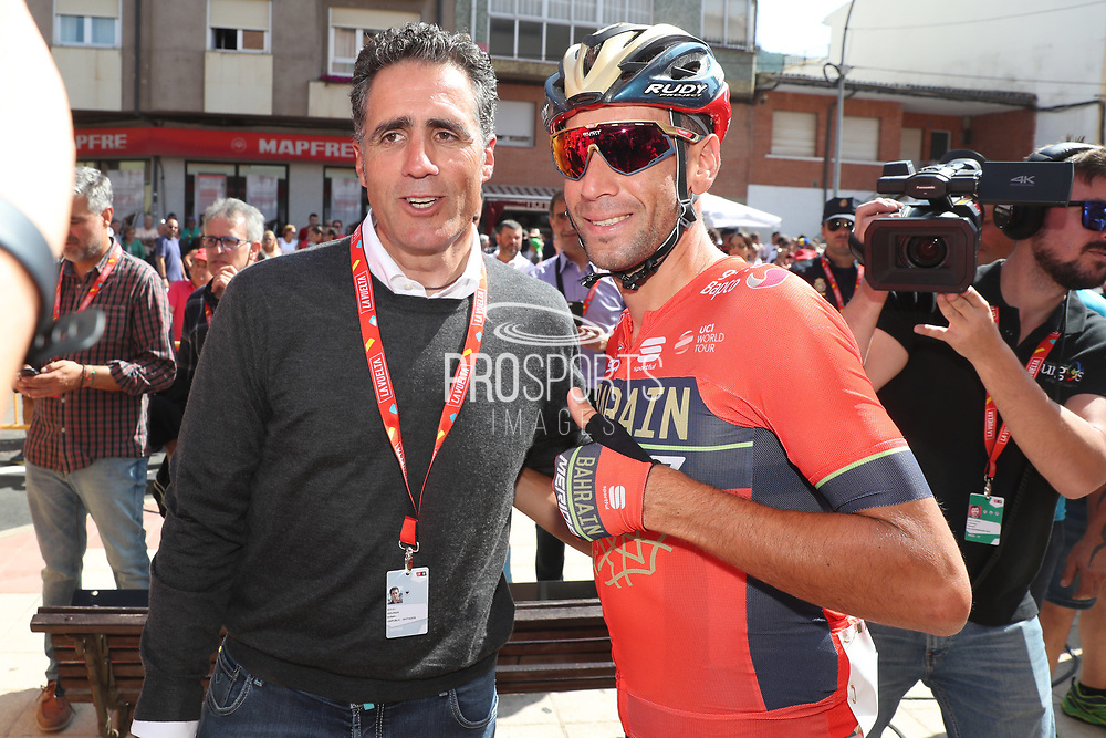 Miguel Indurain (ESP) with Vincenzo Nibali (ITA, Bahrain - Merida) during the 73th Edition of the 2018 Tour of Spain, Vuelta Espana 2018, Stage 14 cycling race, Cistierna - Les Praeres Nava 171 km on September 8, 2018 in Spain - Photo Angel Gomez/ BettiniPhoto / ProSportsImages / DPPI