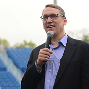 May 15, 2014, New Haven, Connecticut:<br /> Ben Barnes, secretary of OPM, gives remarks during a free tennis lesson and clinic Thursday, May 15, 2014 in advance of the 2014 New Haven Open at the Yale University Tennis Center in New Haven, Connecticut. <br /> (Photo by Billie Weiss/New Haven Open)