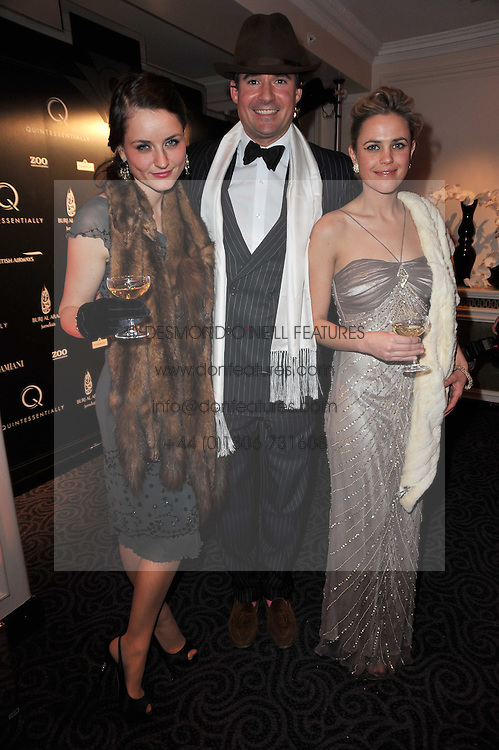 Left to right, CLEMENTINE MAULEVERER, EDWARD TAYLOR and MARTINA BETZ at Quintessentially's 10th birthday party held at The Savoy Hotel, London on 13th December 2010.