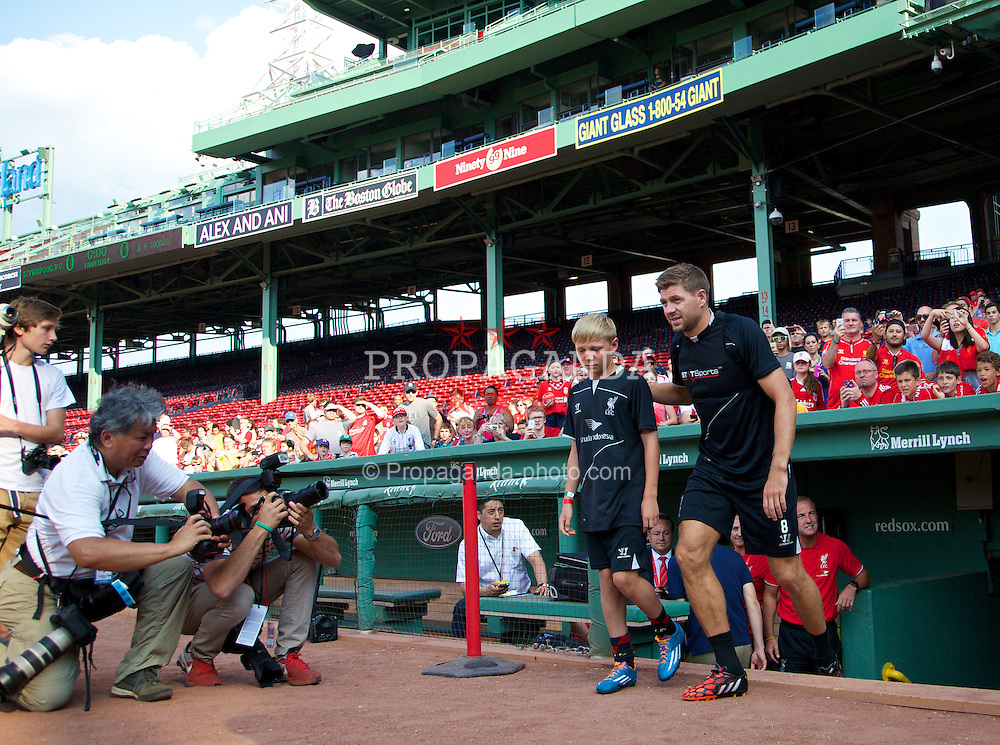 BOSTON, USA - Tuesday, July 22, 2014: Liverpool's captain Steven Gerrard walks out for a training session at Fenway Park in Boston on two one of the club's USA Tour. (Pic by David Rawcliffe/Propaganda)