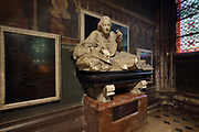 Mausoleum of Hyacinthe Louis de Quelen, d. 1839, bishop of Paris 1821-39, buried in the cathedral choir, 1852, by Adolphe-Victor Geoffroy-Dechaume, after drawings by Viollet-le-Duc, in the Chapelle Saint-Marcel, the 7th chapel of the ambulatory, in the Cathedrale Notre-Dame de Paris, or Notre-Dame cathedral, built 1163-1345 in French Gothic style, on the Ile de la Cite in the 4th arrondissement of Paris, France. Photographed on 17th December 2018 by Manuel Cohen