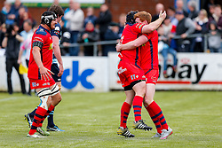 Bristol Rugby Outside Centre Jack Tovey celebrates with replacement Kyle Traynor after scoring a try - Mandatory byline: Rogan Thomson/JMP - 01/05/2016 - RUGBY UNION - Goldington Road - Bedford, England - Bedford Blues v Bristol Rugby - Greene King IPA Championship Play Off Semi Final 1st Leg.