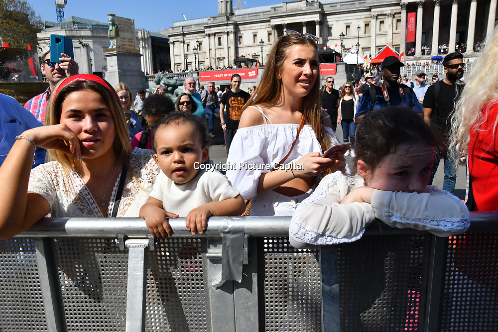 Lydia Bright sisters attend the Feast of St George to celebrate English culture with music and English food stalls in Trafalgar Square on 20 April 2019, London, UK.