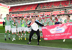 Yeovil players and staff celebrate winning the League One Play Off Final  - Photo mandatory by-line: Joe Meredith/JMP - Tel: Mobile: 07966 386802 19/05/2013 - SPORT - FOOTBALL - LEAGUE 1 - PLAY OFF - FINAL - Wembley Stadium - London - Brentford V Yeovil Town