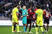 Carton jaune Oswaldo VIZCARRONDO / Tony CHAPRON - 08.02.20145 - Nice / Nantes - 24e journee Ligue 1<br /> Photo : Jc Magnenet / Icon Sport