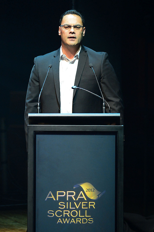 Grant Hawke on stage at the APRA Silver Scrolls Awards 2012. Auckland Town Hall. 13 September 2012.