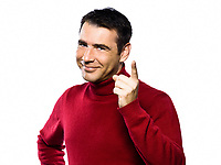 caucasian friendly cheerful man beckoning menacing  finger raised  studio portrait on isolated white backgound