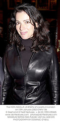 The HON.NIGELLA LAWSON at a party in London on 15th January 2002.			OWN 136