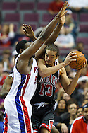 March 28 2010:  Detroit Pistons' Jason Maxiell (54) and Chicago Bulls' Joakim Noah (13) during the NBA basketball game between the Chicago Bulls and Detroit Piston at  the Palace in Auburn Hills, Michigan.