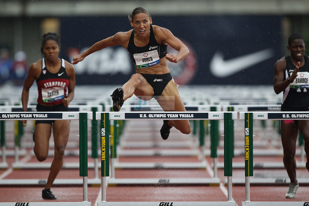 Lolo Jones competes in the 100m hurdles during day 1 of the U.S. Olympic Trials for Track & Field at Hayward Field in Eugene, Oregon, USA 22 Jun 2012..(Jed Jacobsohn/for The New York Times)....