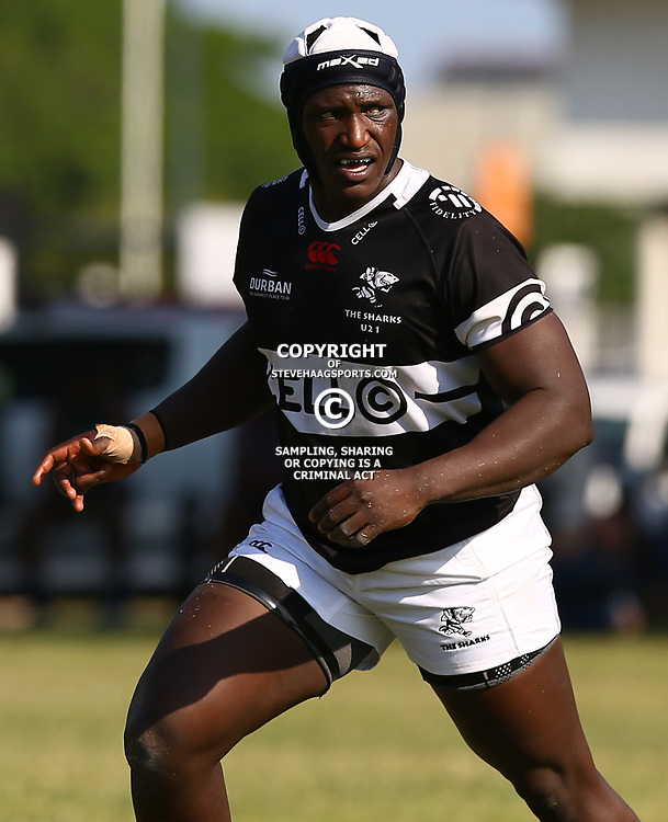 Bandisa Ndlovu of the Cell C Sharks Under 21's during The Cell C Shark 21's and Leopards  21's Currie Cup at Growthpoint Kings Park KP2 in Durban, South Africa. 8th September  2017 (Photo by ( Steve Haag Sports)